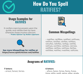 Correct spelling for ratifies