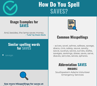 Correct spelling for saves