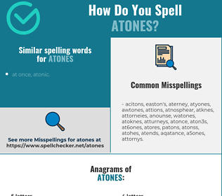 Correct spelling for atones