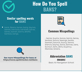 Correct spelling for bans