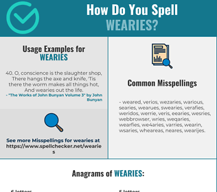 Correct spelling for wearies