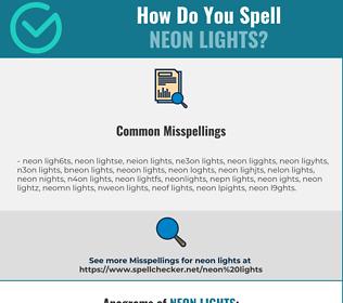 Correct spelling for neon lights