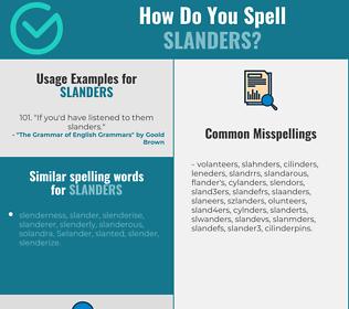 Correct spelling for slanders