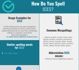 Correct spelling for ices
