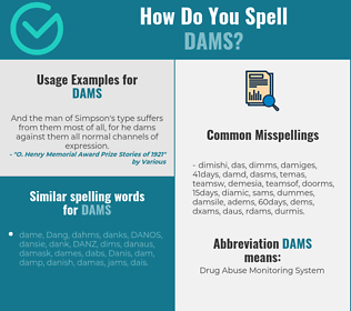 Correct spelling for dams