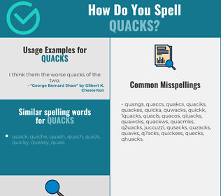 Correct spelling for quacks