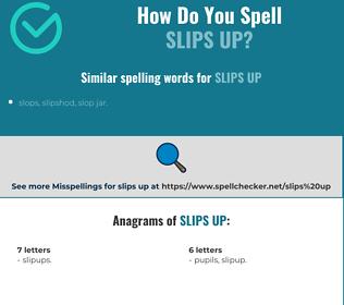 Correct spelling for slips up