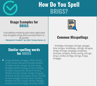 Correct spelling for brigs