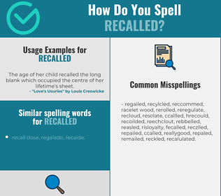 Correct spelling for recalled