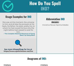 Correct spelling for INO