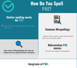 Correct spelling for PAE