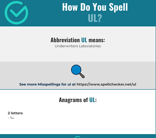 Correct spelling for UL