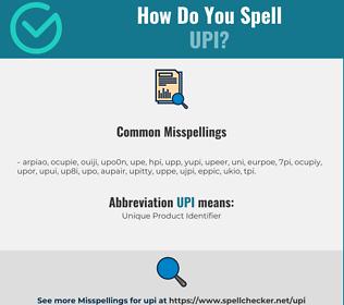 Correct spelling for UPI