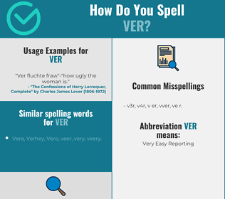 Correct spelling for VER