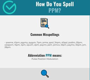 Correct spelling for PPM