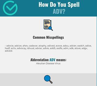 Correct spelling for ADV