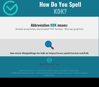 Correct spelling for KDK