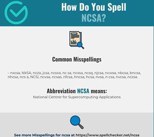 Correct spelling for NCSA