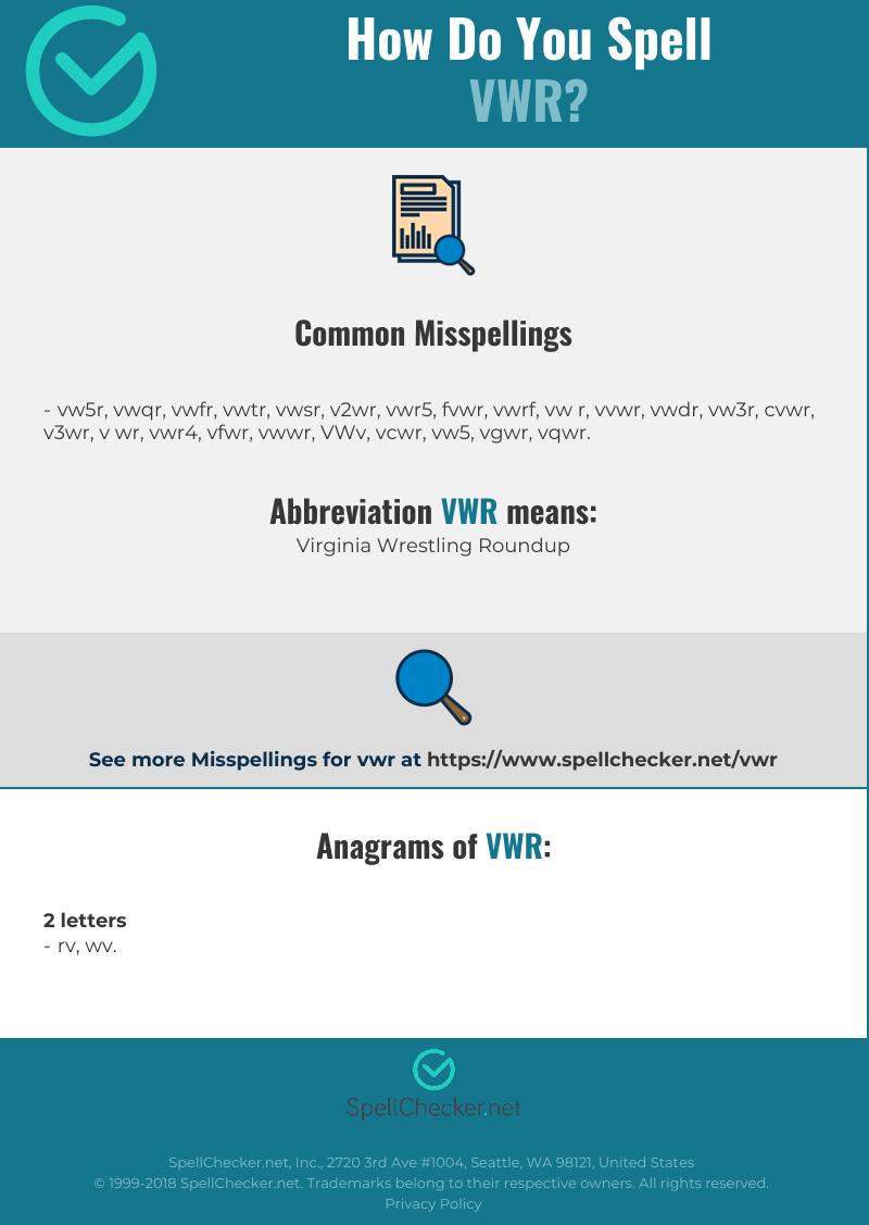 Correct spelling for VWR [Infographic] | Spellchecker net