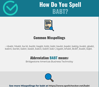 Correct spelling for BABT