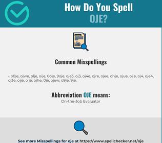 Correct spelling for OJE