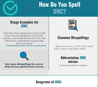 Correct spelling for UNC