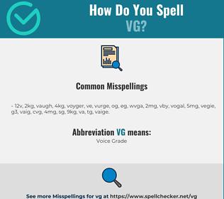 Correct spelling for VG