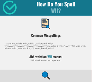 Correct spelling for WII
