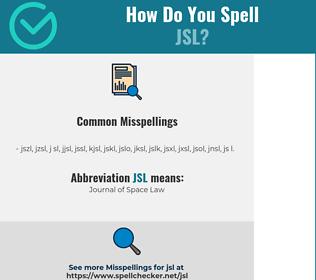 Correct spelling for JSL
