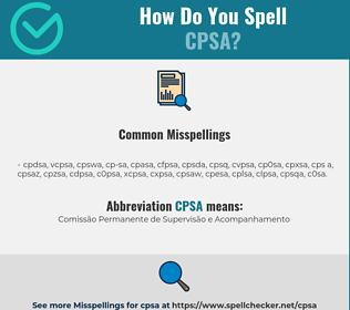 Correct spelling for CPSA
