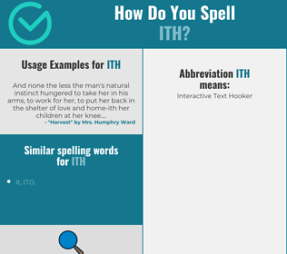 Correct spelling for ITH