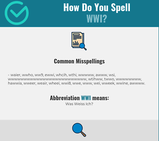 Correct spelling for WWI