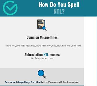 Correct spelling for NTL