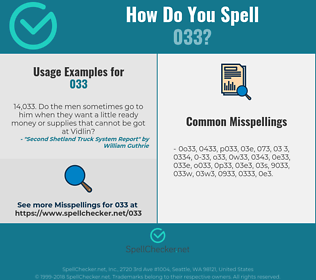 Correct spelling for 033