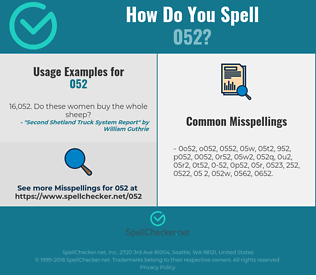 Correct spelling for 052