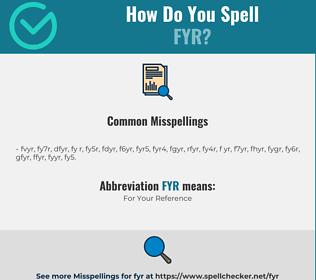 Correct spelling for FYR