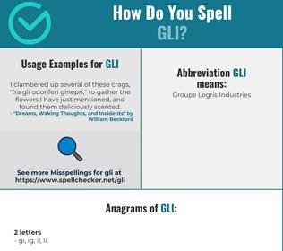 Correct spelling for GLI