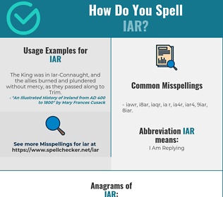 Correct spelling for IAR