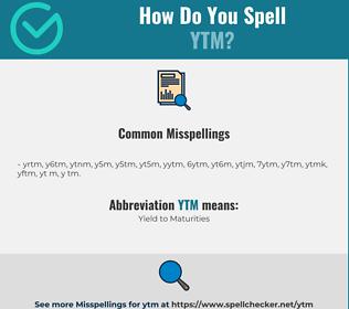 Correct spelling for YTM
