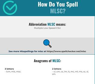 Correct spelling for MLSC