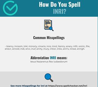 Correct spelling for INRI