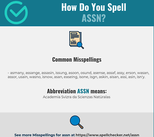 Correct spelling for ASSN