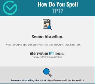 Correct spelling for TPT