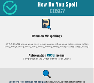 Correct spelling for COSG