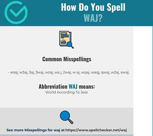 Correct spelling for WAJ