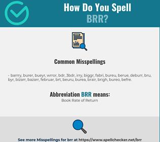 Correct spelling for BRR