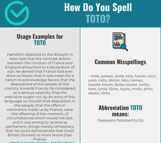 Correct spelling for TOTO