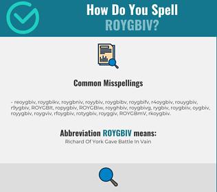 Correct spelling for ROYGBIV