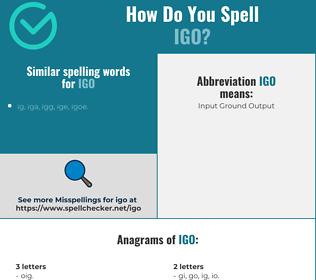 Correct spelling for IGO