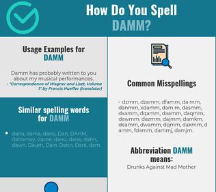 Correct spelling for DAMM